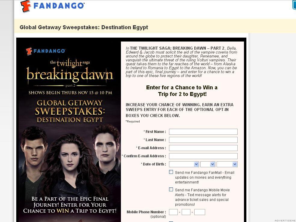 Fandango's The Twilight Saga: Breaking Dawn - Part 2 Global Getaway Sweepstakes: Destination Egypt