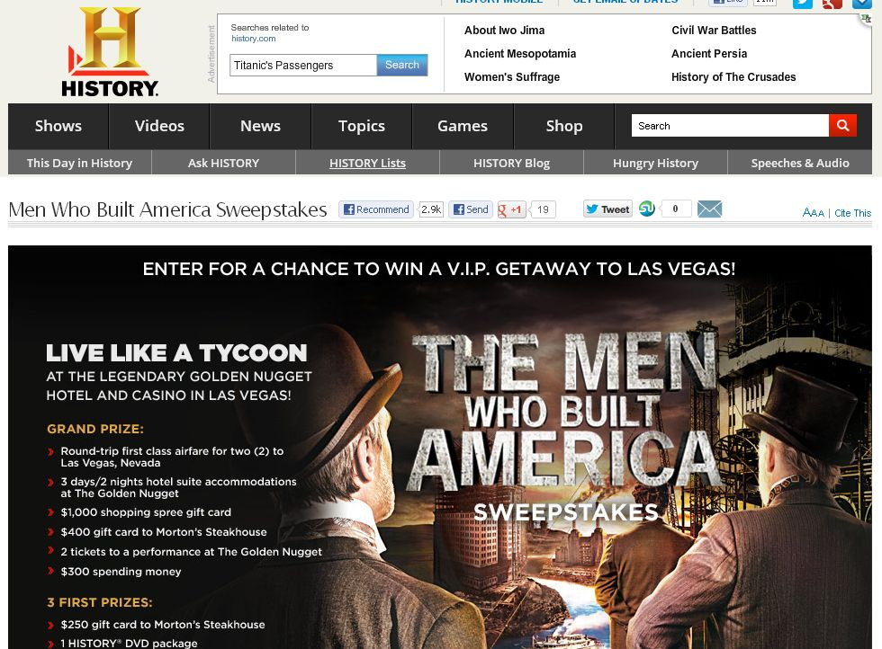 History Men Who Built America Sweepstakes