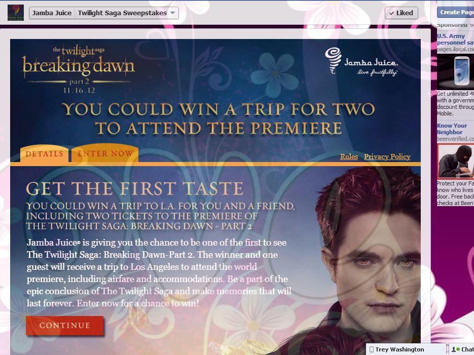 Twilight Saga: Breaking Dawn – Part 2 Premiere Sweepstakes by Jamba Juice