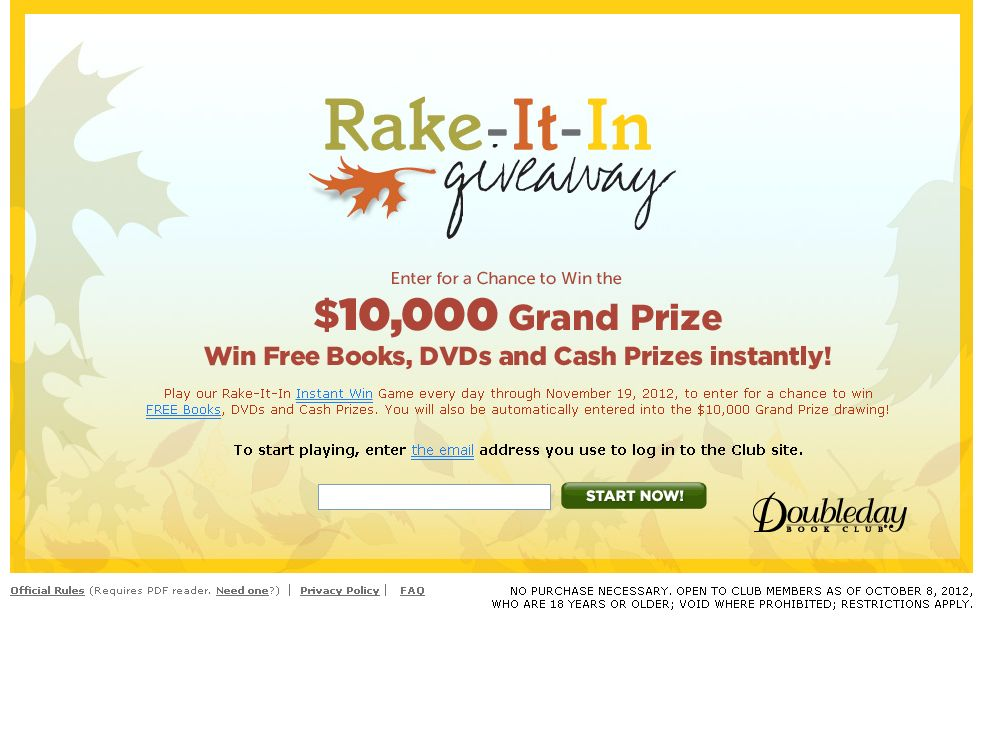 Rake-It-In Giveaway/Grand Prize Drawing