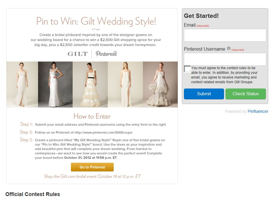 Pin to Win: Gilt Wedding Style Contest