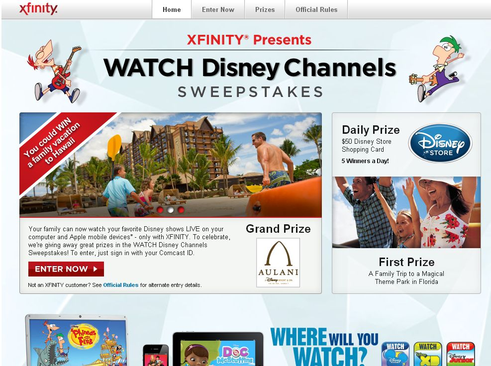 XFINITY Presents WATCH Disney Channels Sweepstakes
