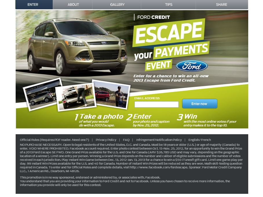 Ford Credit Escape Your Payment Event