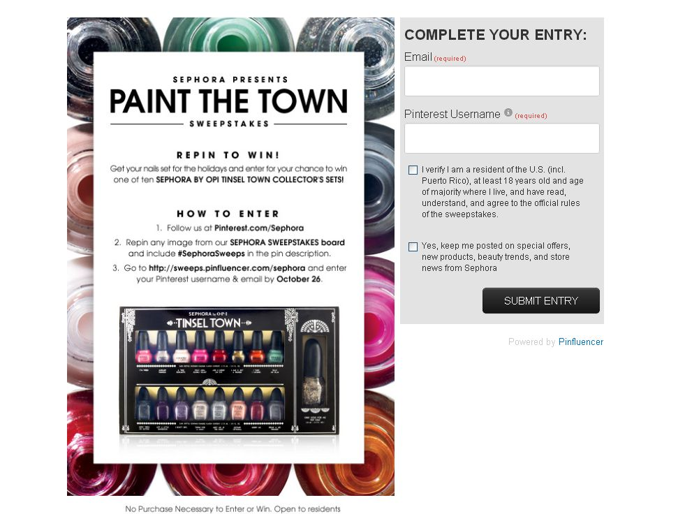 Sephora Presents Paint the Town Sweepstakes