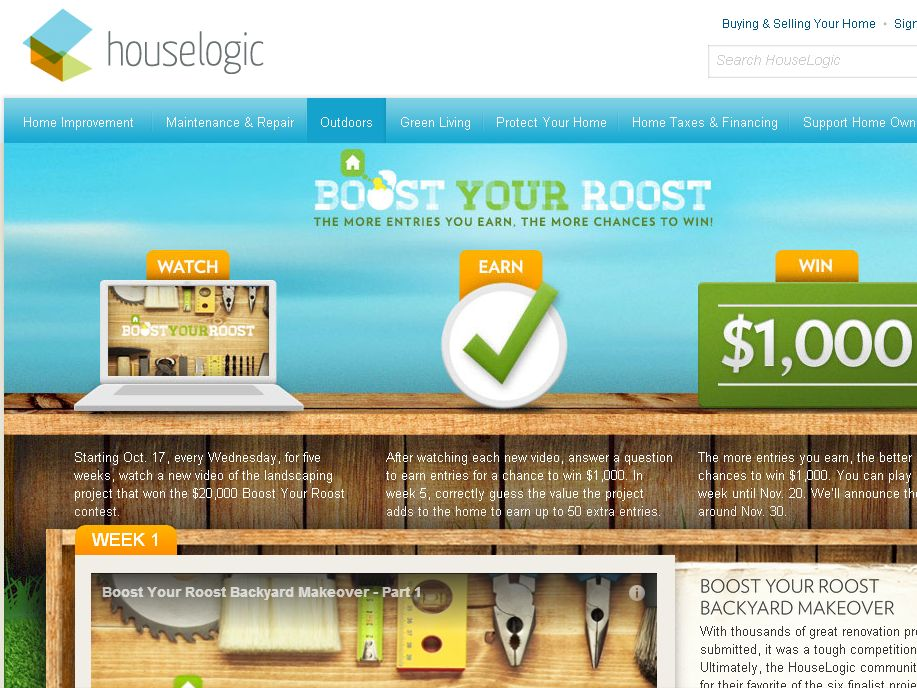 HouseLogic Boost Your Roost Sweepstakes