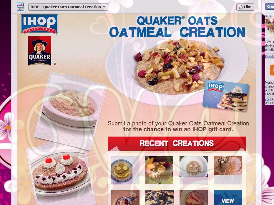 IHOP & Quaker Oats Oatmeal Creation Sweepstakes