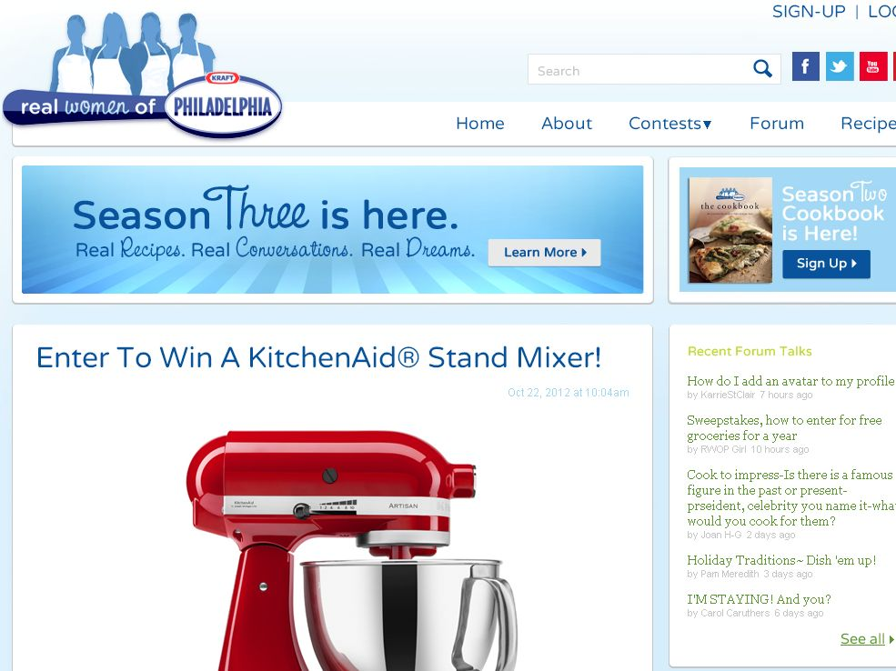 RWOP KitchenAid Stand Mixer Giveaway Rules