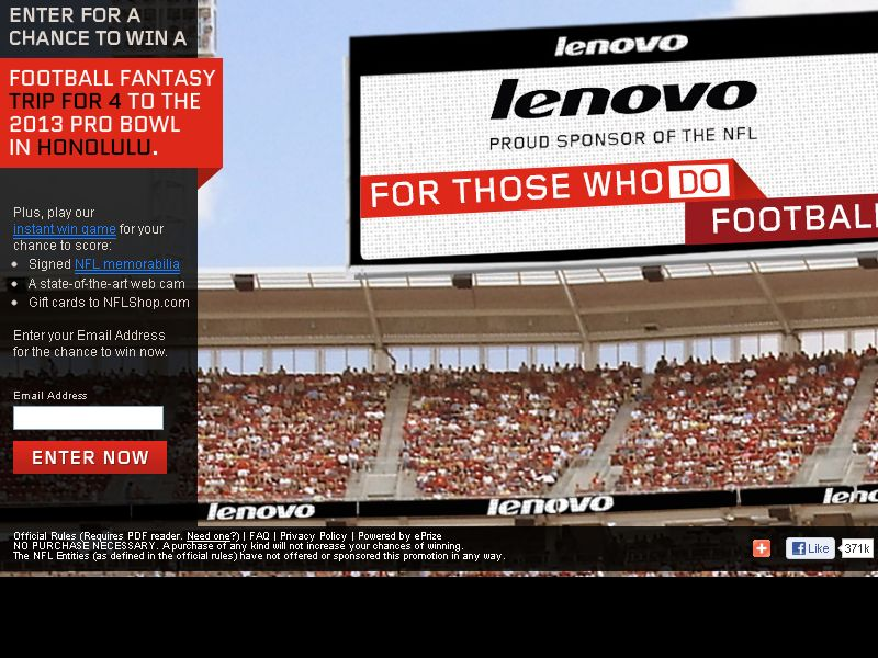 Lenovo For Those Who Do Football  Sweepstakes