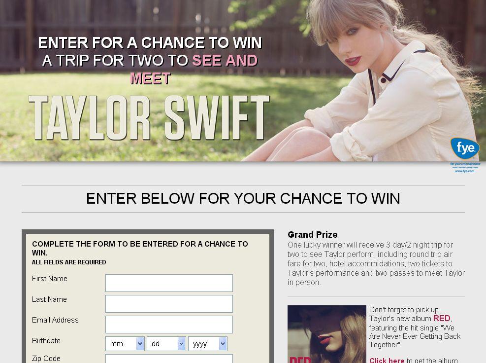 FYE and Taylor Swift Sweepstakes