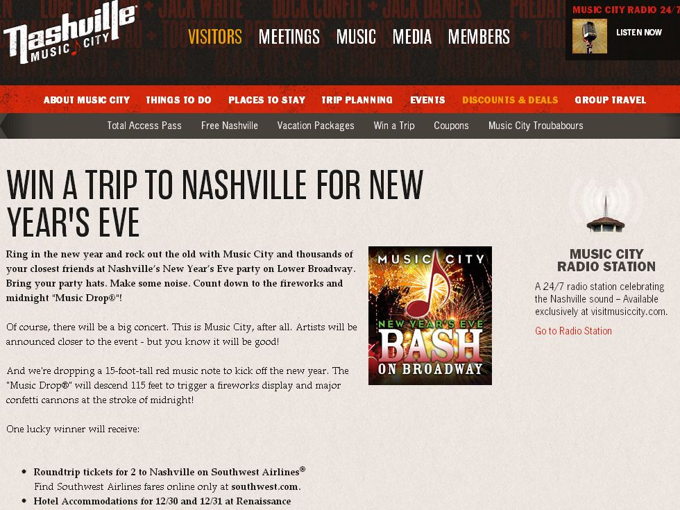 MUSIC CITY'S NEW YEARS EVE BASH ON BROADWAY SWEEPSTAKES