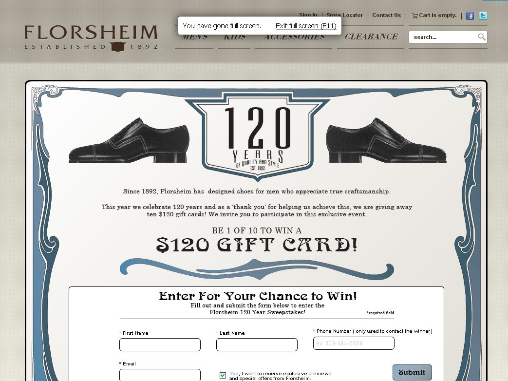 Florsheim 120 Year Sweepstakes