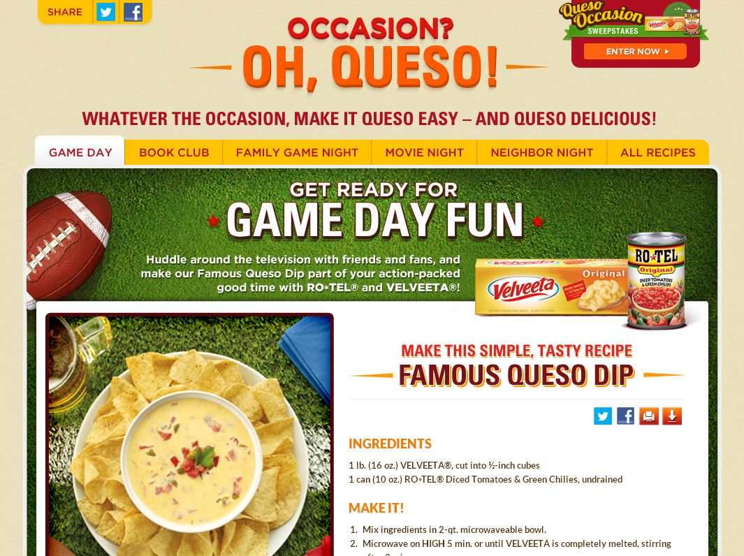 The RO*TEL and Velveeta Queso Occasion Sweepstakes