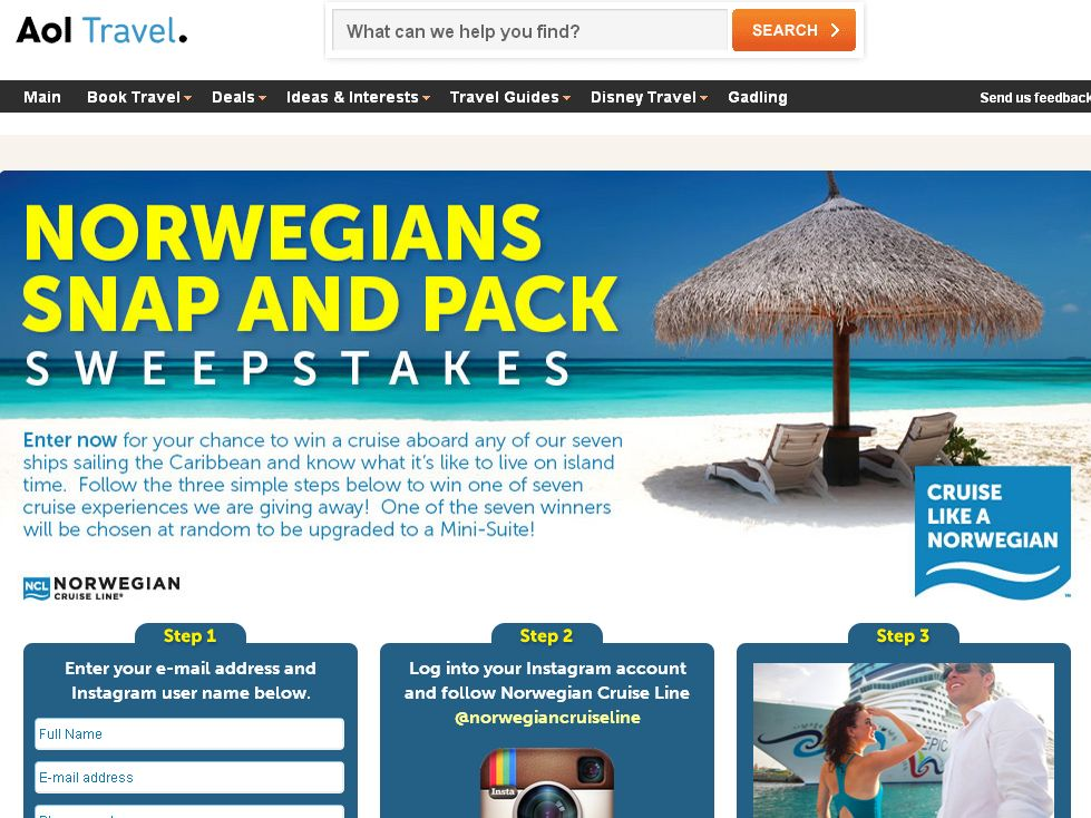 Norwegians Snap and Pack Sweepstakes