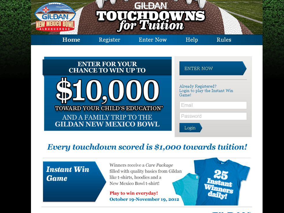 Gildan New Mexico Bowl Touchdowns For Tuition Promotion