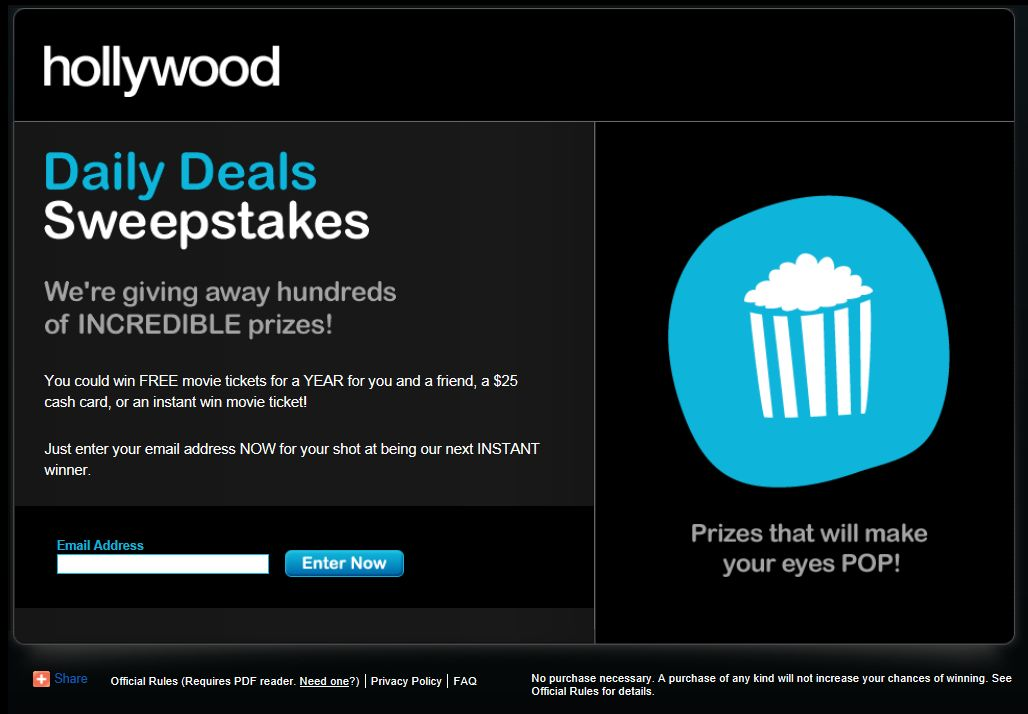 Hollywood.com Daily Deals Sweepstakes