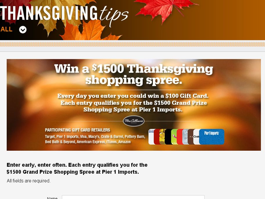 Thanksgiving Tips Gift Card Giveaway