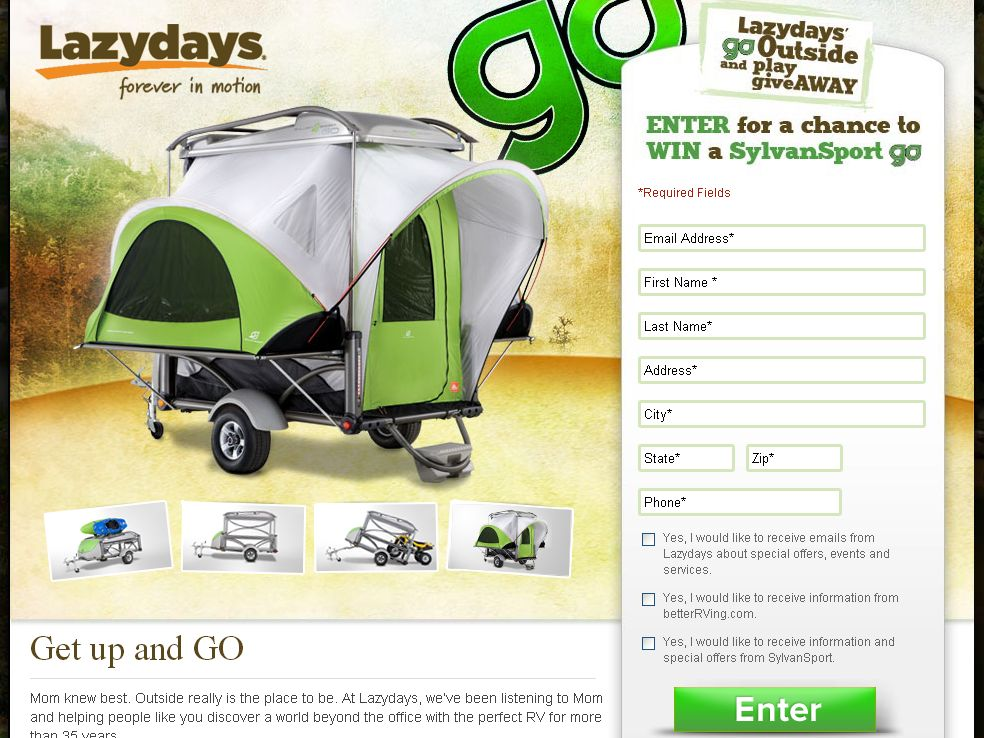 Lazydays' GO Outside and Play Giveaway Sweepstakes