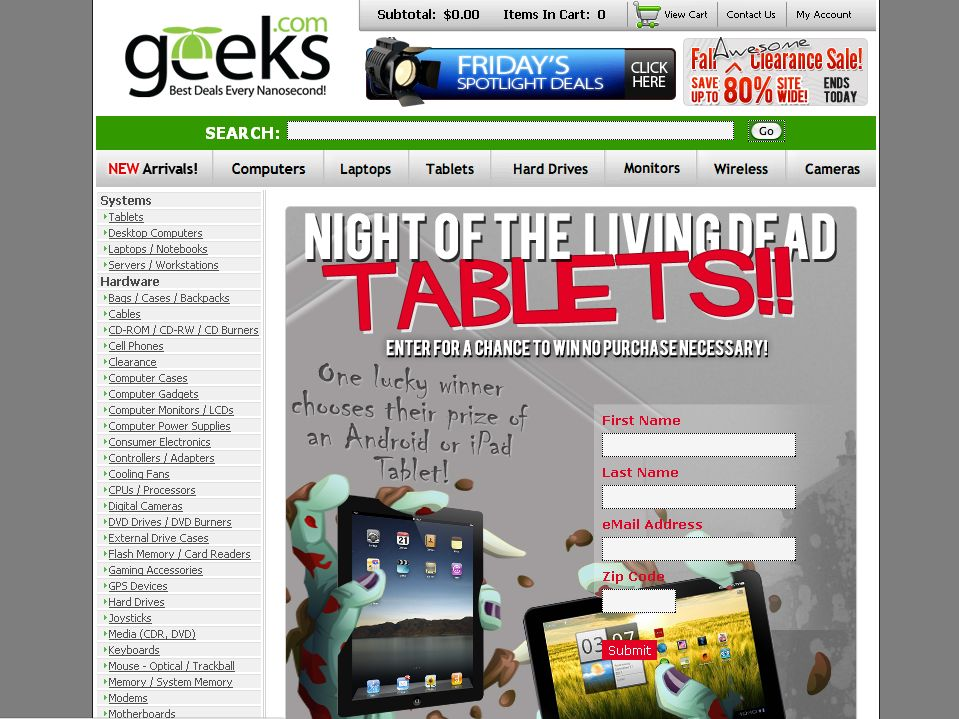Geeks.com's Night of the Living Dead Tablets Contest