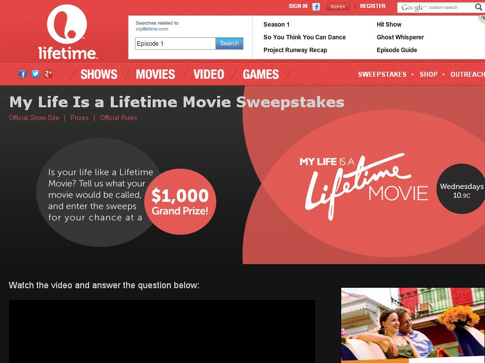 Lifetime My Life is a Lifetime Movie Sweepstakes