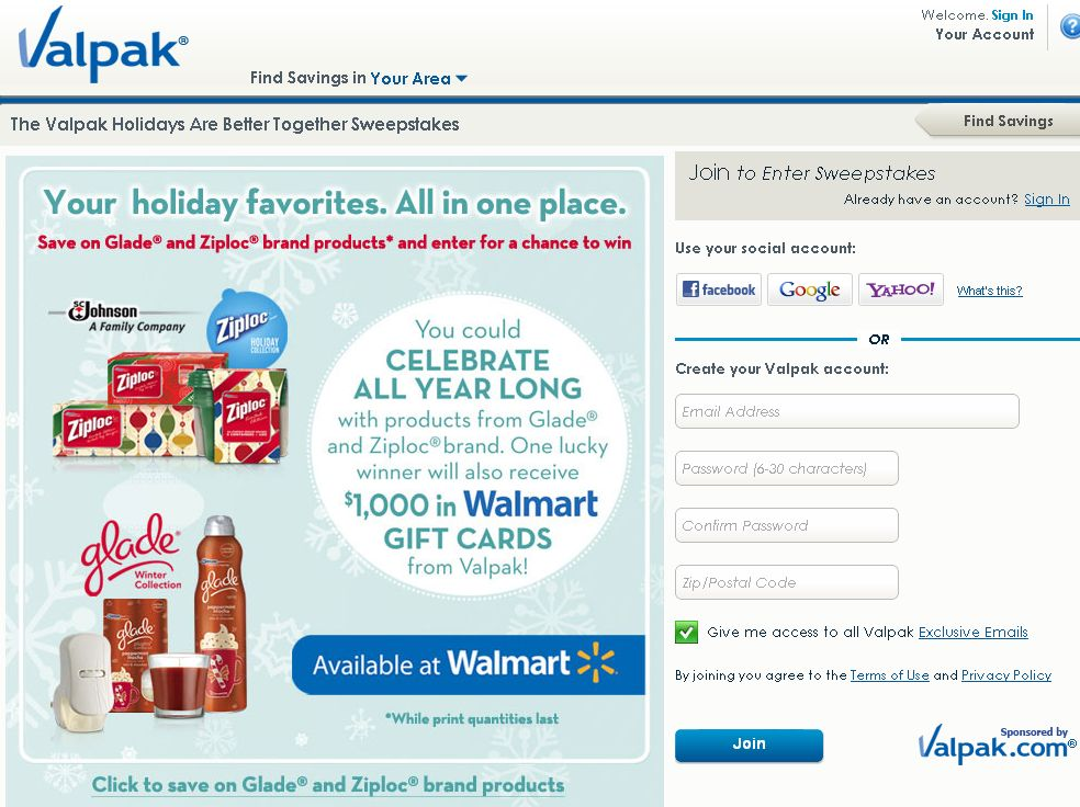 Valpak Holidays Are Better Together Sweepstakes