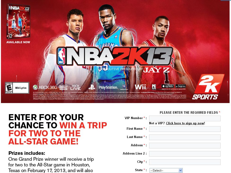 Foot Locker NBA 2K13 NEW DYNASTY SWEEPSTAKES