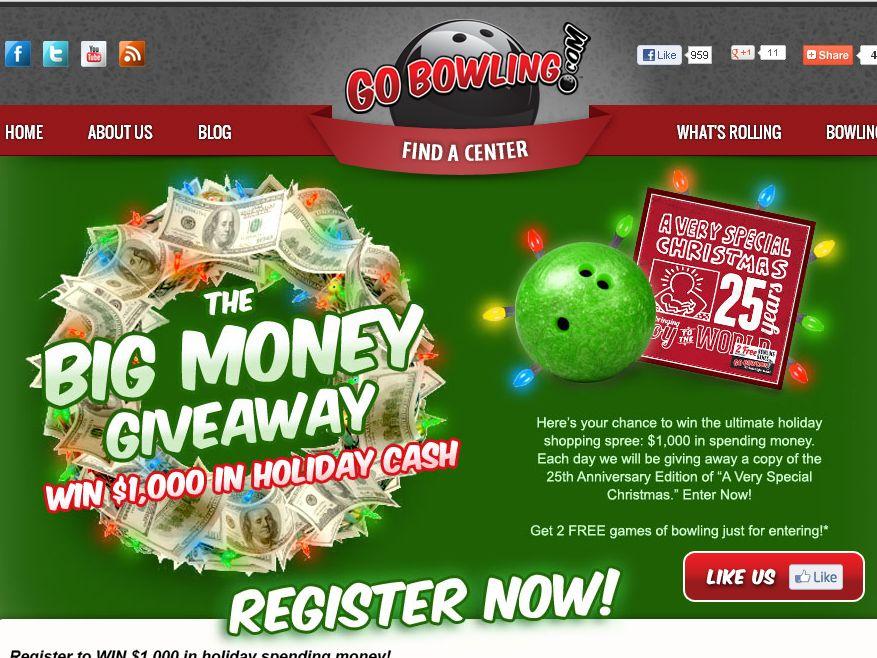 GoBowling.com Big Money Giveaway Sweepstakes