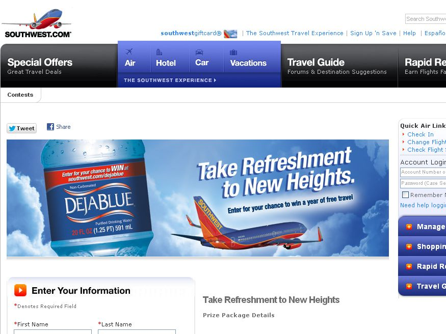 2012 Déjà Blue and Southwest Airlines Take Refreshment to New Heights