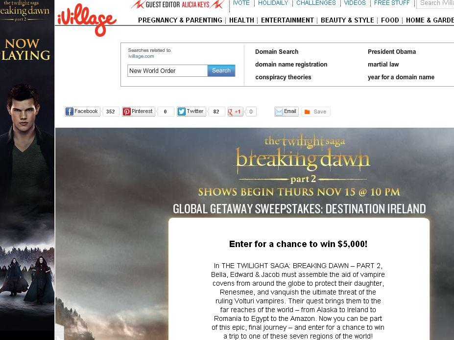 iVillage The Twilight Saga: Breaking Dawn – Part 2 Global Getaway Sweepstakes: Destination Ireland Sweepstakes