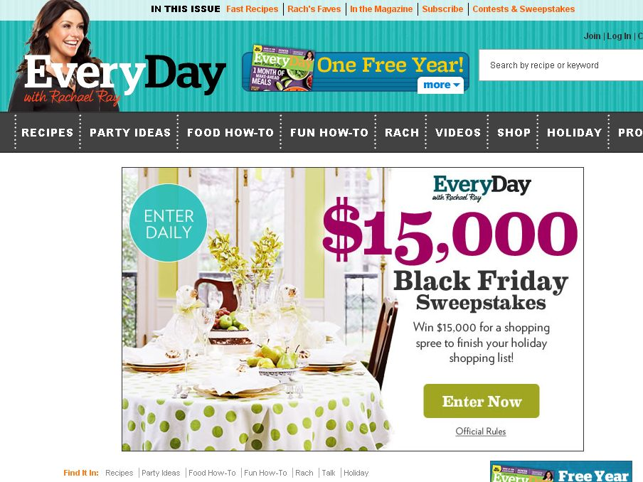 Every Day with Rachael Ray Black Friday Sweepstakes