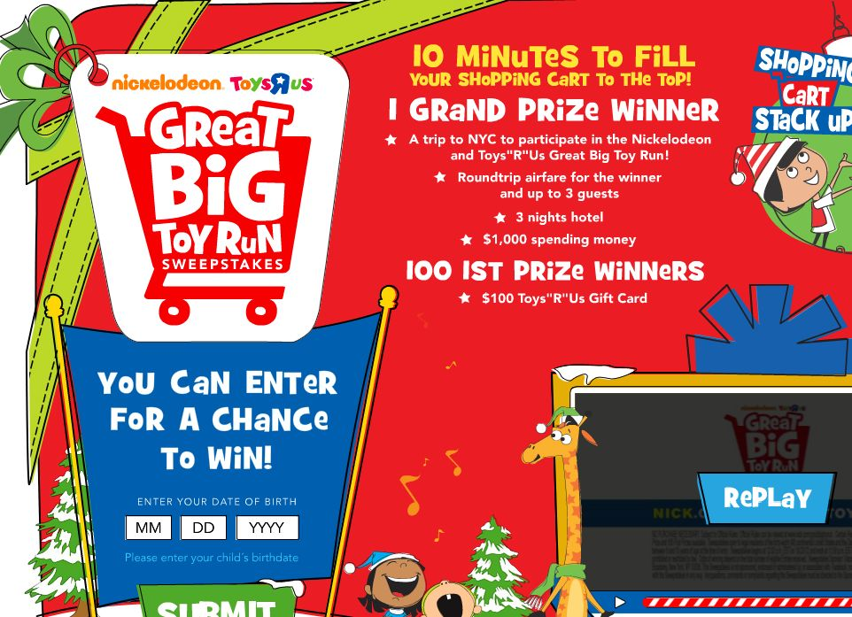 """Nickelodeon and Toys """"R"""" Us Great Big Toy Run Sweepstakes"""