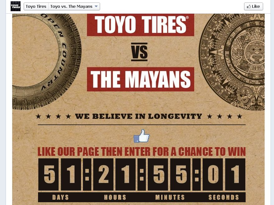 Toyo Tires vs. The Mayans Sweepstakes