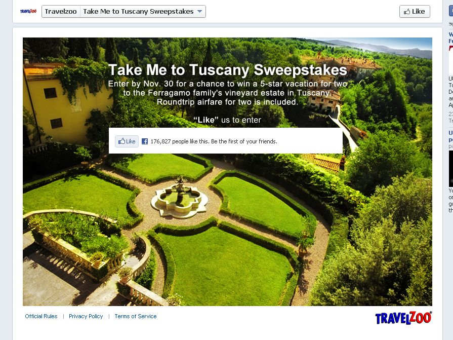 Travelzoo Take me to Tuscany Sweepstakes