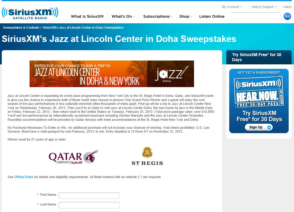 SiriusXM's Jazz at Lincoln Center Doha Sweepstakes