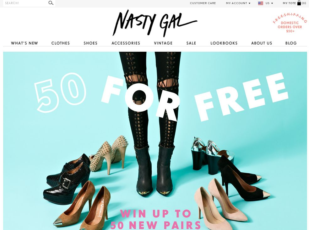 Nasty Gal 50 for Free Sweepstakes