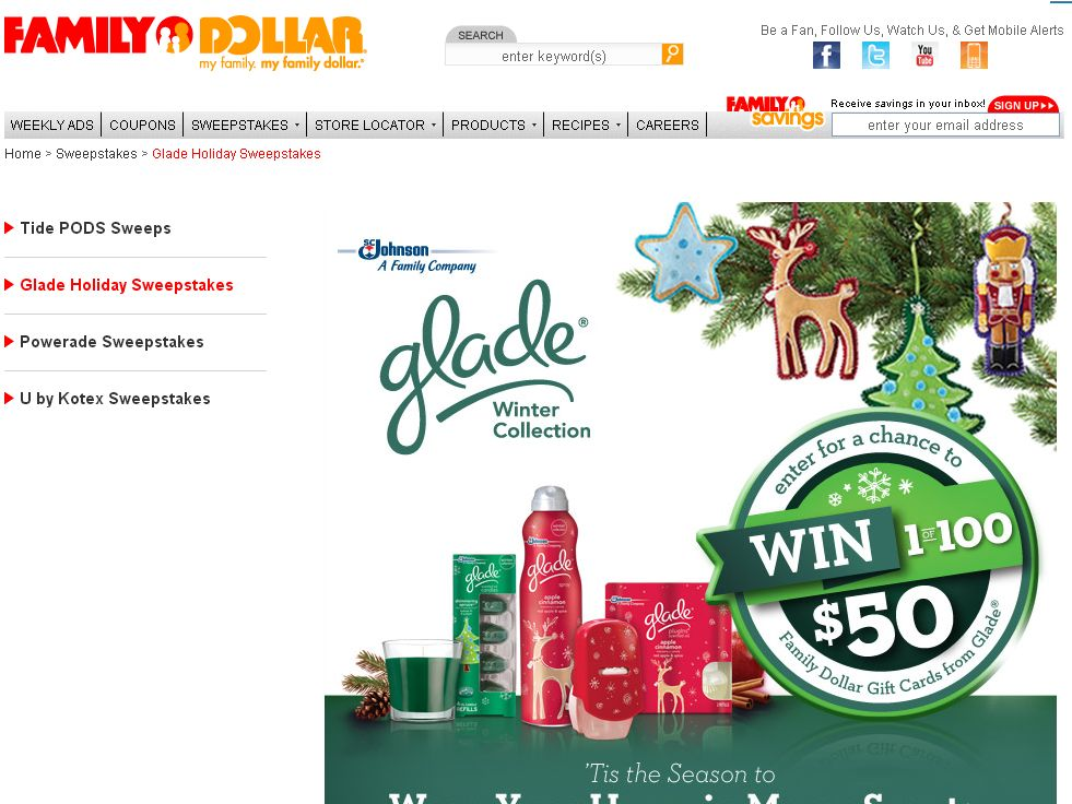 Family Dollar Glade Holiday Sweepstakes
