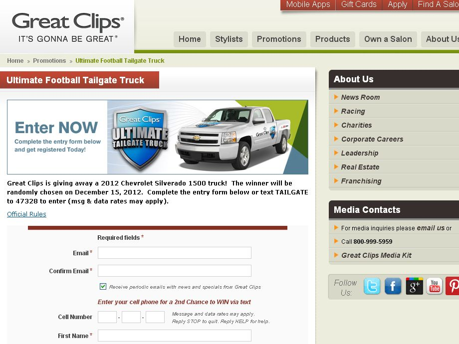 2012 GREAT CLIPS ULTIMATE FOOTBALL TAILGATE TRUCK GIVEAWAY Contest