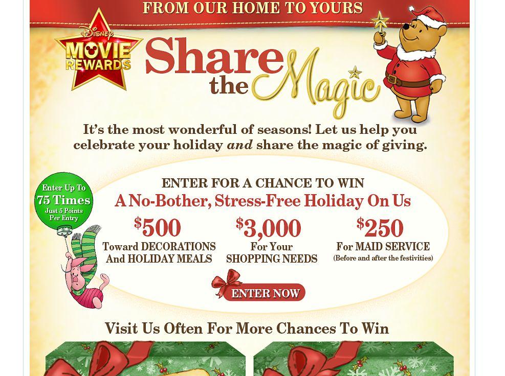 Disney Movie Rewards Share the Magic Sweepstakes