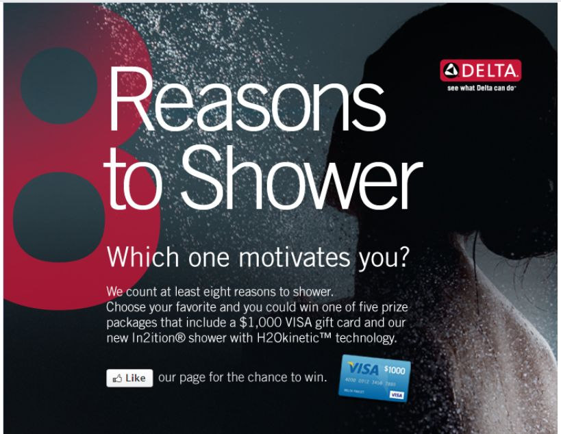 Delta Faucet Company Eight Reasons to Shower Sweepstakes