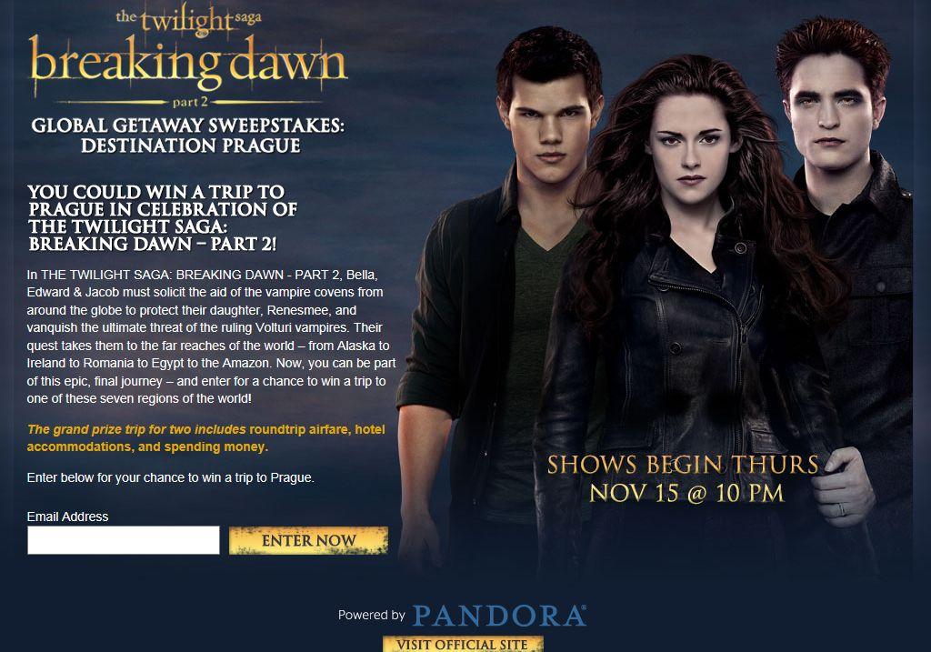 The Twilight Saga: Breaking Dawn – Part 2 Global Getaway Sweepstakes