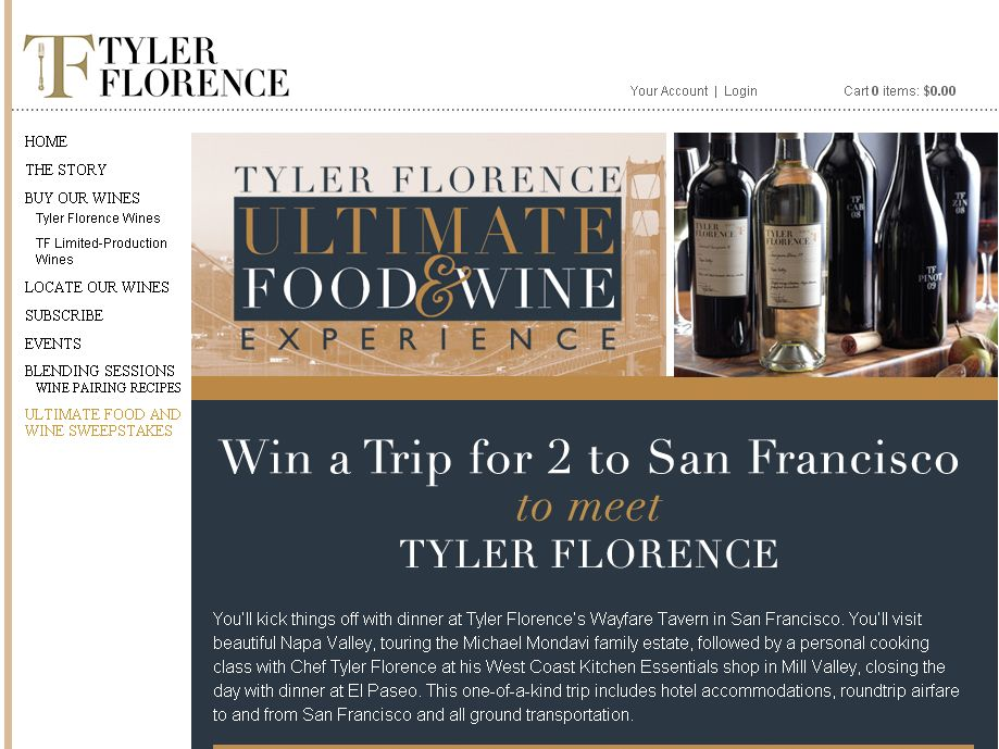 Tyler Florence Ultimate Food & Wine Experience Recipe Contest