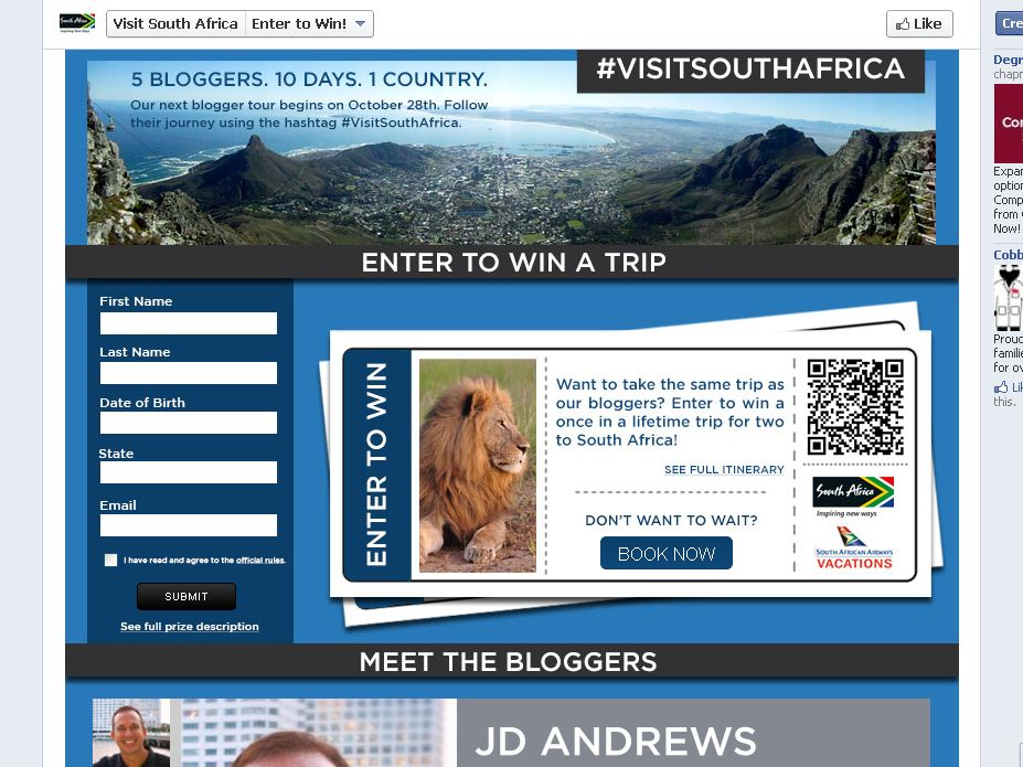 South African Tourism Endless Skies Sweepstakes