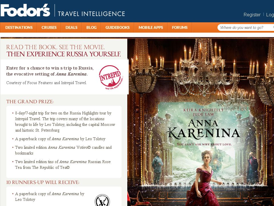 Fodor's Anna Karenina Experience Russia Sweepstakes