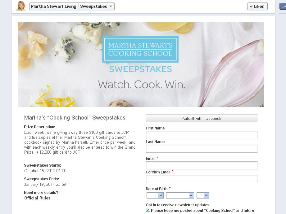 Cooking School Sweepstakes from Martha Stewart Living promotion