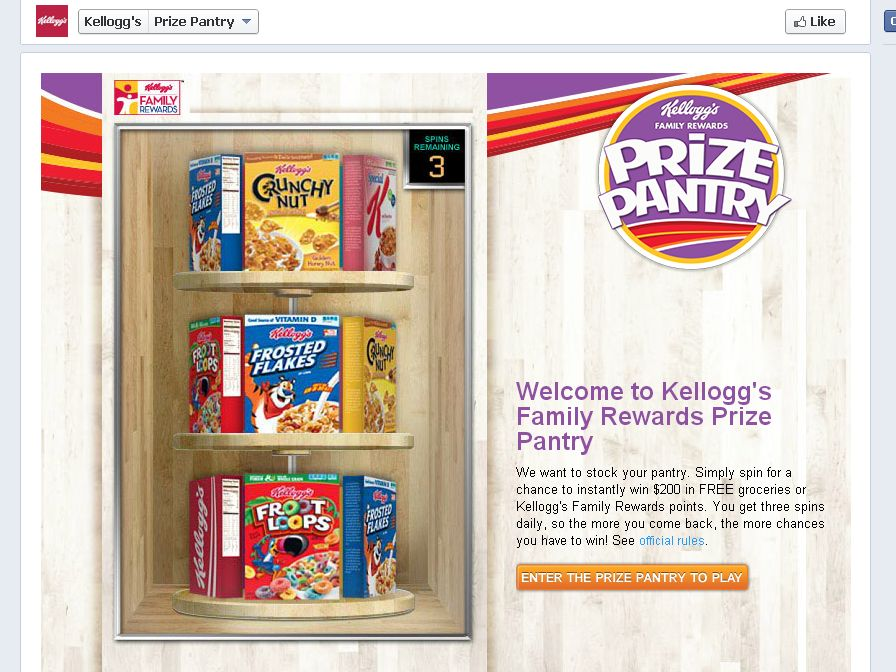 Kellogg's Prize Pantry Instant Win Game