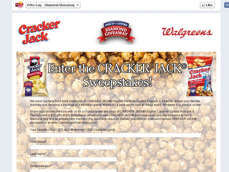 Frito Lay CRACKER JACK Prize Pack Sweepstakes