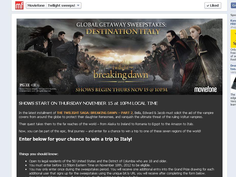 Twilight Saga: Breaking Dawn – Part 2 Global Getaway Sweepstakes: Destination Italy