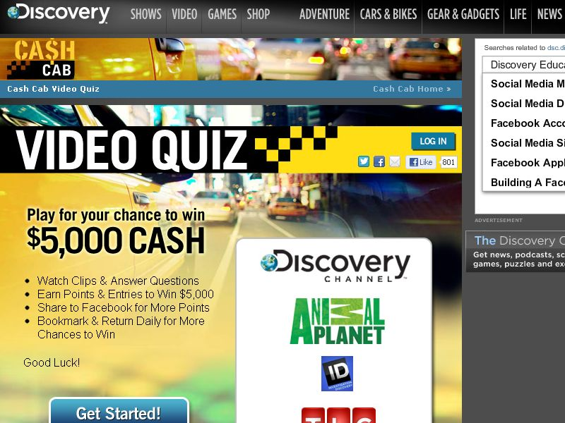 Discovery Cash Cab Fan Appreciation Sweepstakes
