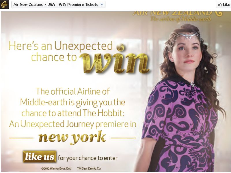 NYC The Hobbit: An Unexpected Journey Premiere Consumer Sweepstakes