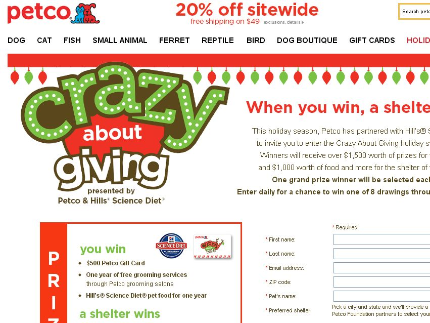 Petco's Crazy about Giving Contest
