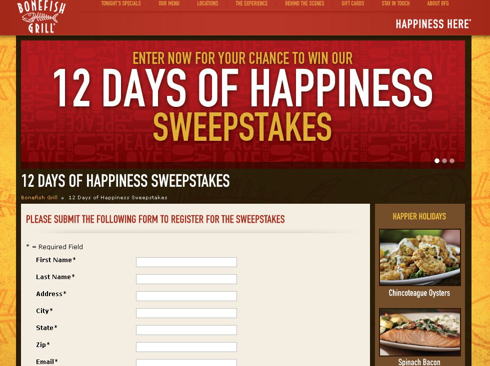 Bonefish Grill Twelve Days of Happiness Sweepstakes